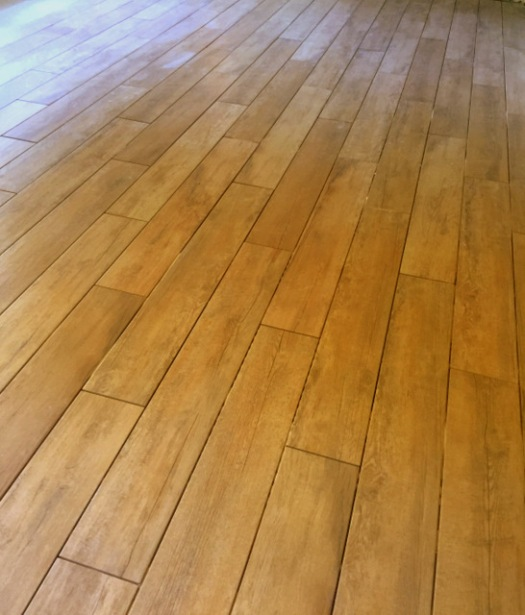 Wood-look tile flooring